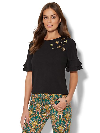 7th Avenue - Sequin Ruffle-Sleeve Top - New York & Company