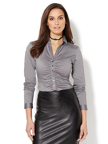 7th Avenue - Shirred Madison Stretch Shirt - New York & Company