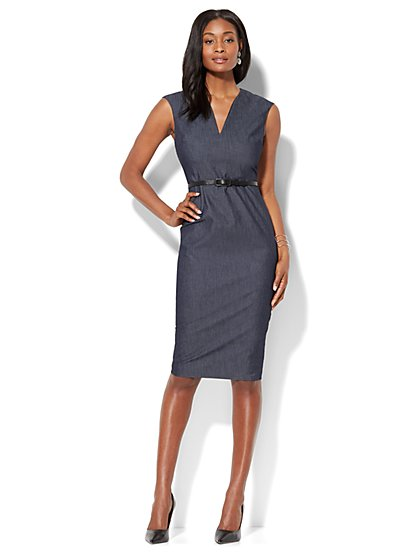 7th Avenue - Sleeveless Sheath Dress - Modern - Navy - Petite - New York & Company