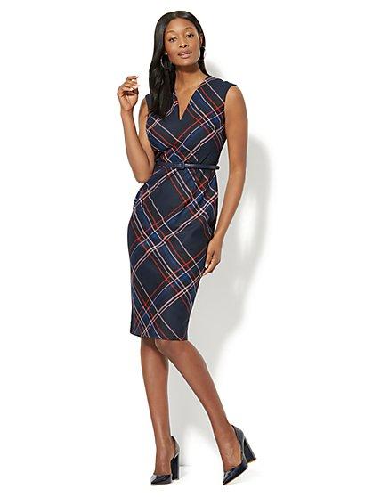 7th Avenue - Sleeveless Sheath Dress - Modern - Plaid - New York & Company