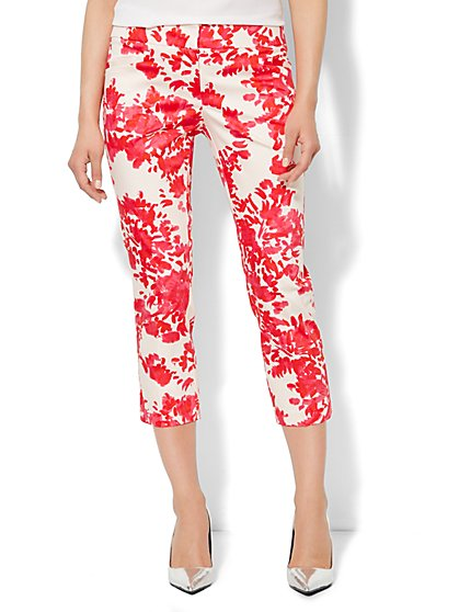 7th Avenue Slim Straight Crop Pant - Floral Print  - New York & Company