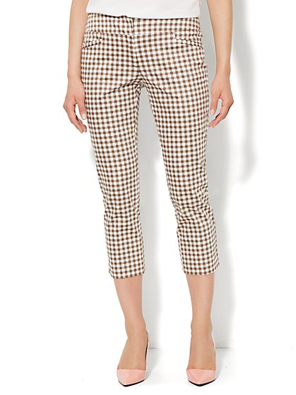 7th Avenue Slim Straight Crop Pant - Gingham  - New York & Company