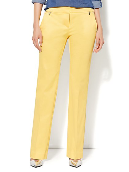 7th Avenue Slim Straight Leg Pant - Zip Accents - Delightful Daisy - New York & Company