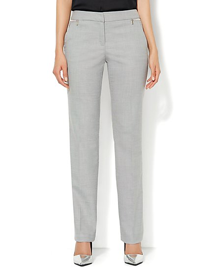 7th Avenue Slim Straight Leg Pant - Zip Accents - Light Heather Grey - New York & Company