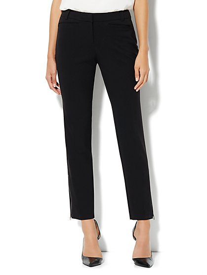 7th Avenue Slim Zip Ankle Pant - Black - New York & Company