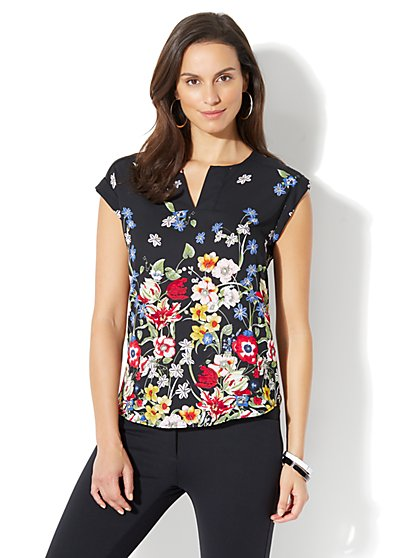7th Avenue - Split-Neck Tee - Floral Print - Petite - New York & Company