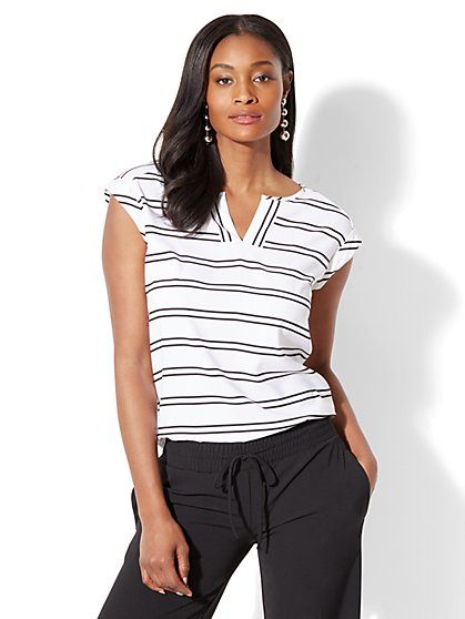 7th Avenue - Split-Neck Tee - Stripe - New York & Company