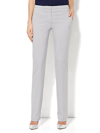 7th Avenue Straight Leg Pant - Grey Pinstripe - Average - New York & Company