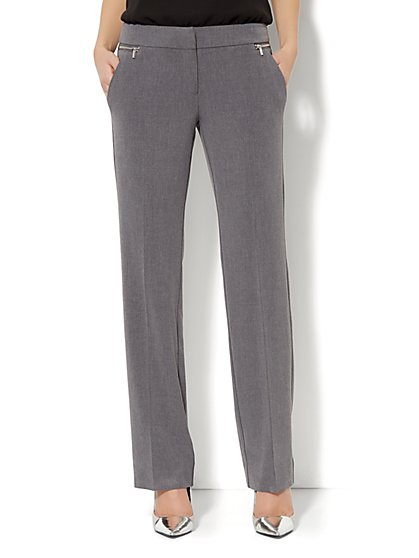 7th Avenue Straight-Leg Pant - Zipper Accent - Average  - New York & Company