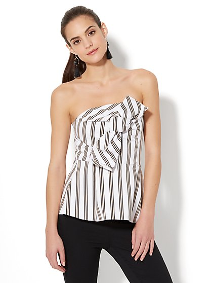 7th Avenue - Strapless Origami Shirt - Stripe - New York & Company