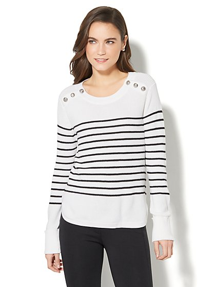 7th Avenue - Striped Crewneck Sweater - New York & Company