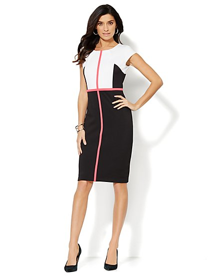 7th Avenue Suiting Collection - Colorblock Sheath Dress - Black - New York & Company