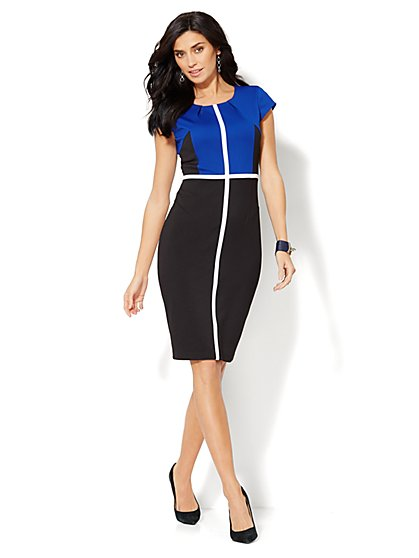 7th Avenue Suiting Collection - Colorblock Sheath Dress  - New York & Company