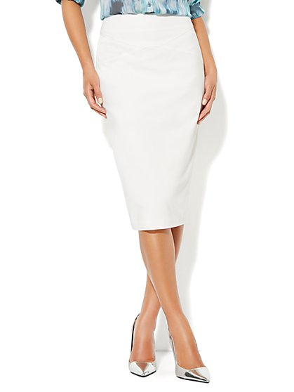 7th Avenue Suiting Collection Crepe Seamed Pencil Skirt - New York & Company