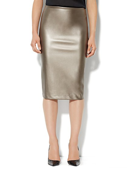 7th Avenue Suiting Collection - Faux-Leather Pencil Skirt - New York & Company