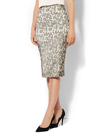 7th Avenue Suiting Collection - Gold Lace-Print Pencil Skirt  - New York & Company