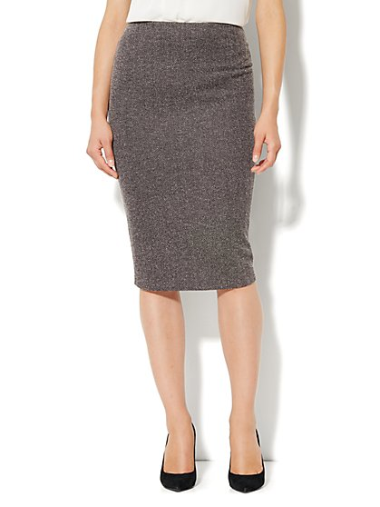 7th Avenue Suiting Collection - Herringbone Pencil Skirt