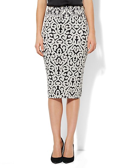 7th Avenue Suiting Collection - High-Waist Scuba Pencil Skirt  - New York & Company