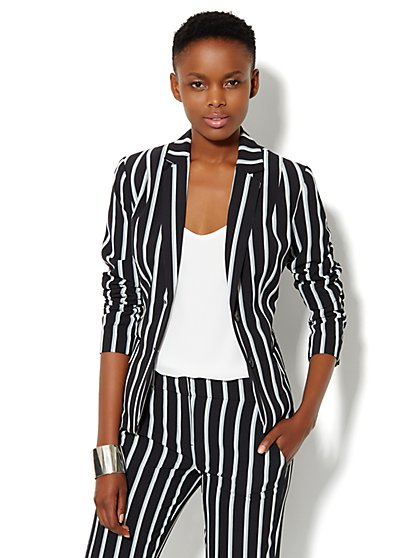 7th Avenue Suiting Collection Jacket - City Crepe - Pinstripe