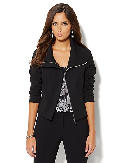 7th Avenue Suiting Collection Jacket - Funnel Neck - Black - New York & Company