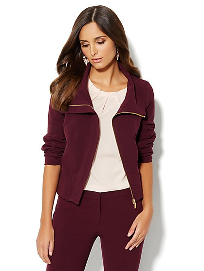 7th Avenue Suiting Collection Jacket - Funnel Neck - Burgundy - New York & Company