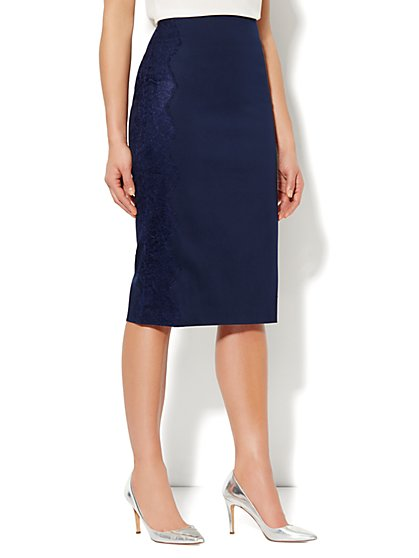 7th Avenue Suiting Collection Lace Trim Pencil Skirt - New York & Company