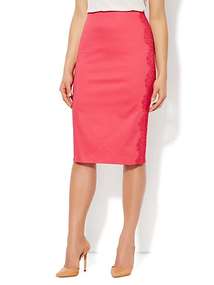 7th Avenue Suiting Collection Lace Trim Pencil Skirt