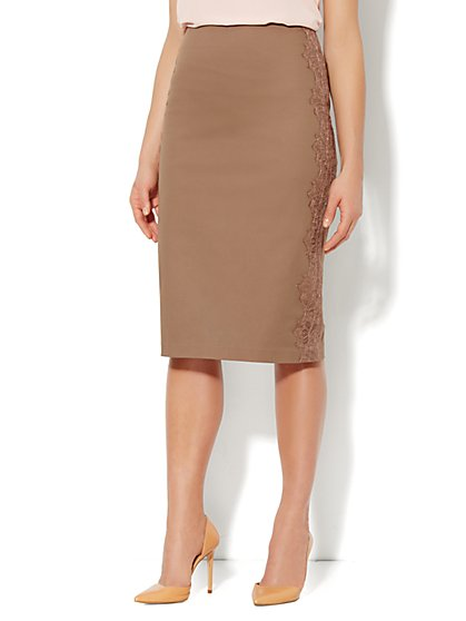 7th Avenue Suiting Collection Lace-Trim Pencil Skirt