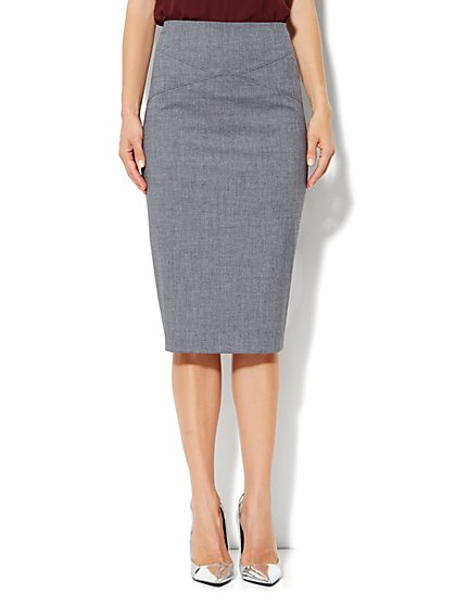 7th Avenue Suiting Collection Pencil Skirt - Carlson Grey