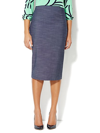 7th Avenue Suiting Collection - Pencil Skirt - Dark Blue - New York & Company