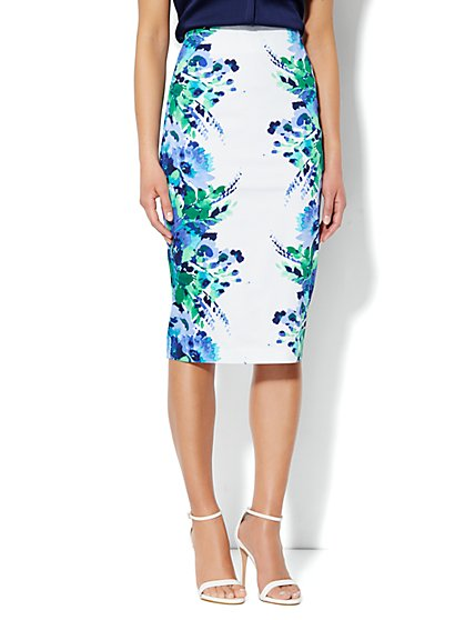 7th Avenue Suiting Collection Pencil Skirt - Floral Print