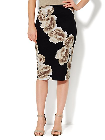 7th Avenue Suiting Collection - Pencil Skirt - Floral - New York & Company
