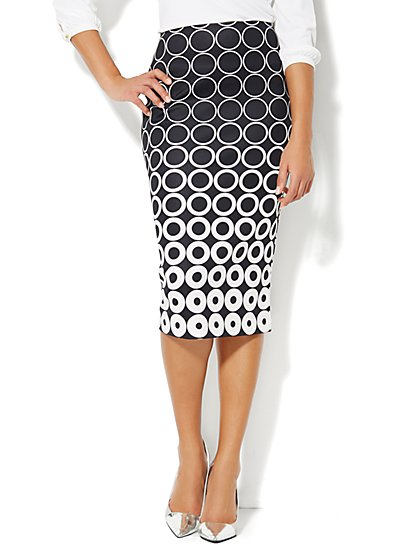 7th Avenue Suiting Collection - Pencil Skirt - Geo Print  - New York & Company