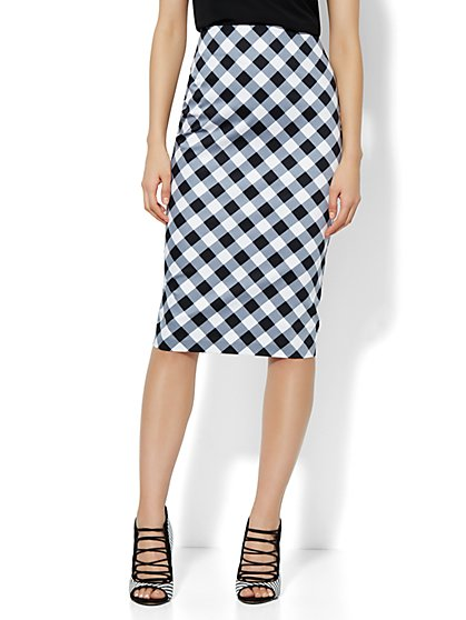 7th Avenue Suiting Collection Pencil Skirt - Gingham - Petite   - New York & Company