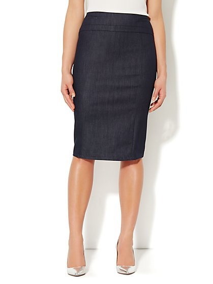 7th Avenue Suiting Collection Pencil Skirt - Hidden Blue