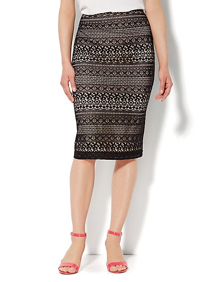 7th Avenue Suiting Collection - Pencil Skirt - Lace Overlay  - New York & Company