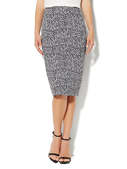 7th Avenue Suiting Collection Pencil Skirt  - Marbled Print - New York & Company
