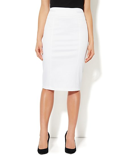 7th Avenue Suiting Collection Pencil Skirt - Optic White