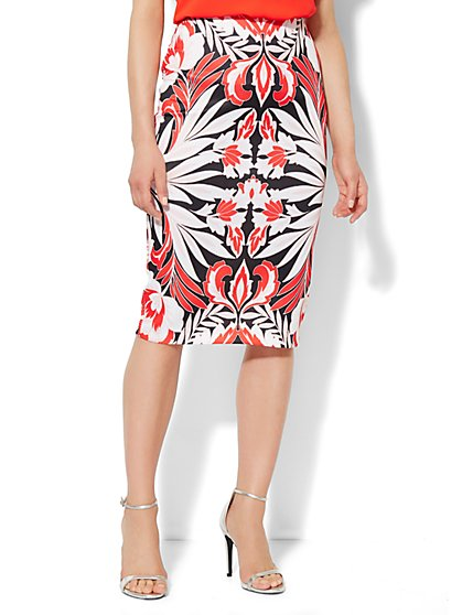 7th Avenue Suiting Collection - Scuba Midi Skirt - Floral Print - New York & Company