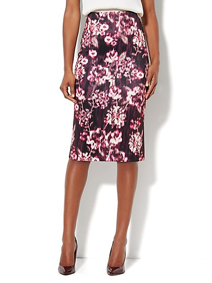 7th Avenue Suiting Collection - Scuba Midi Skirt - Floral - New York & Company