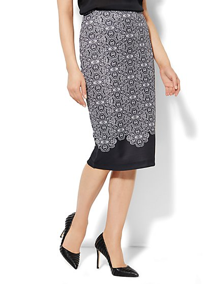 7th Avenue Suiting Collection - Scuba Midi Skirt - Graphic Print - New York & Company