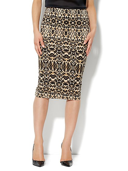 7th Avenue Suiting Collection - Scuba Midi Skirt - Leopard - New York & Company