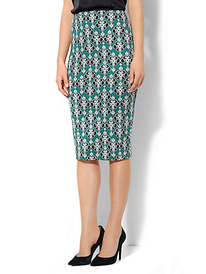 7th Avenue Suiting Collection - Scuba Midi Skirt - Medallion-Print - New York & Company