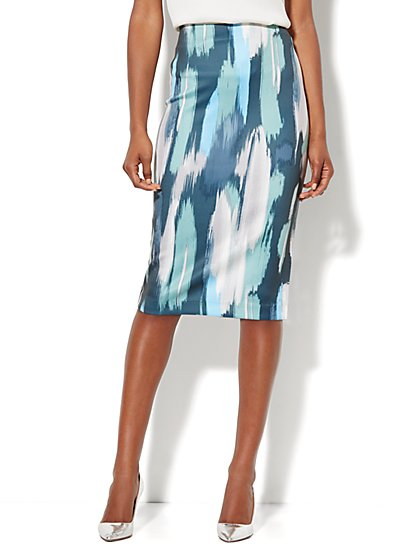 7th Avenue Suiting Collection - Scuba Midi Skirt - Print - New York & Company