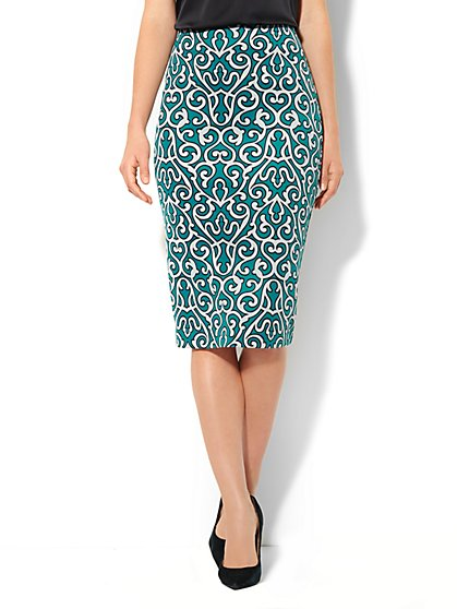 7th Avenue Suiting Collection - Scuba Midi Skirt - Scroll Print - New York & Company
