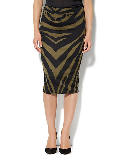 7th Avenue Suiting Collection - Scuba Midi Skirt - Zebra - New York & Company