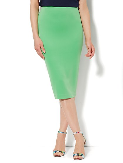 7th Avenue Suiting Collection - Scuba Pencil Midi Skirt - Petite - New York & Company