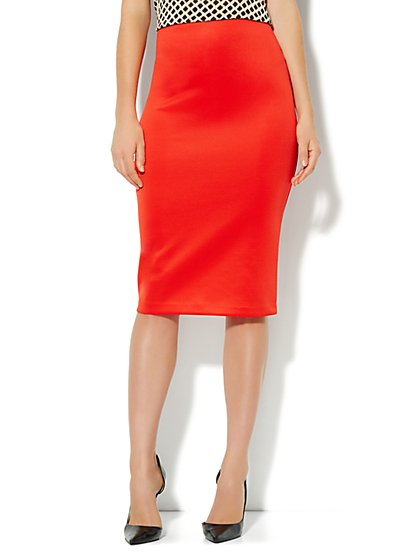 7th Avenue Suiting Collection - Scuba Pencil Midi Skirt - New York & Company