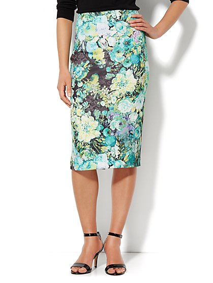 7th Avenue Suiting Collection - Scuba Pencil Skirt - Floral Print  - New York & Company