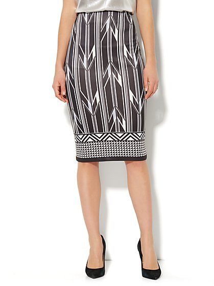 7th Avenue Suiting Collection Scuba Pencil Skirt - Graphic Print  - New York & Company